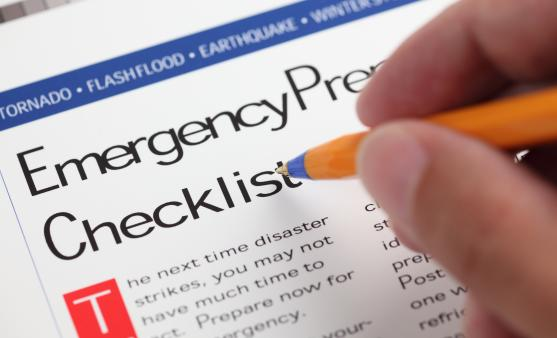 Emergency preparedness checklist for a disaster.