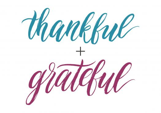Thankfull + grateful blog graphic.