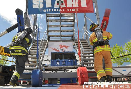 Start line at the Firefighter Combat Challenge.