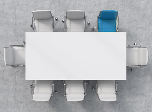 White table with seven white chairs and one blue chair.