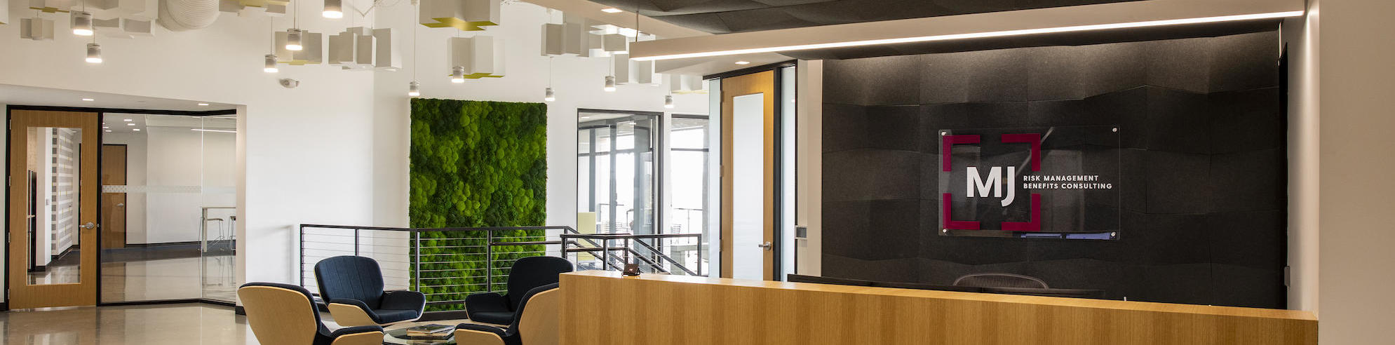 Front lobby of MJ Insurance at the Carmel, IN office