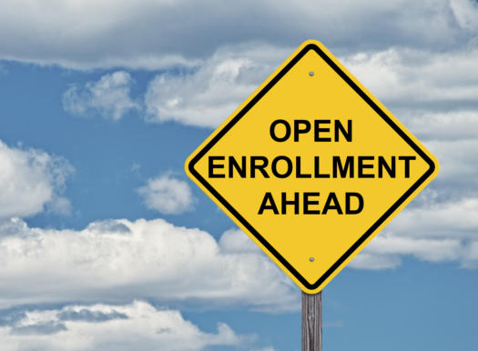 Open enrollment ahead sign.