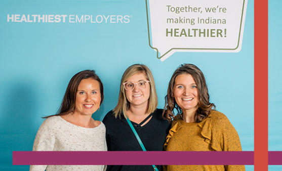 Sarah Hanson, Shauna Henley and Brittany Dockemeyer attend the Healthiest Employers awards ceremony.